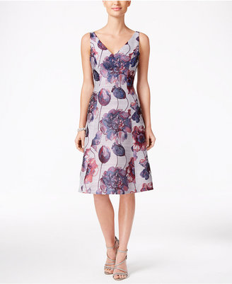 Adrianna Papell Embellished Floral-Print Fit & Flare Dress $199 thestylecure.com