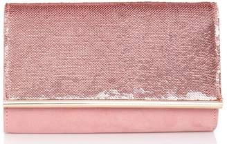 Quiz Pink Faux Suede Sequin Bag