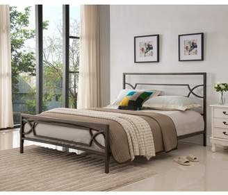 Rails Pilaster Designs Vegas Pewter Full Size Contemporary Metal Slat Bed Frame (Headboard, Footboard, & Slats)