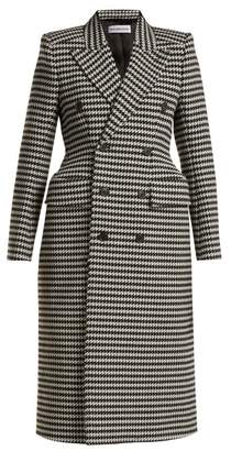 Balenciaga - Hourglass Double Breasted Houndstooth Coat - Womens - Black White