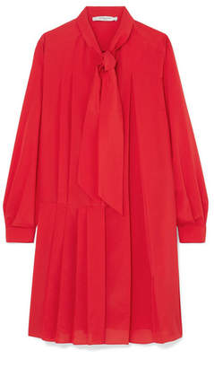 Givenchy Pussy-bow Pleated Silk-blend Crepe De Chine Mini Dress - Red