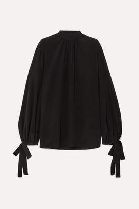 Prada Gathered Silk Crepe De Chine Blouse - Black