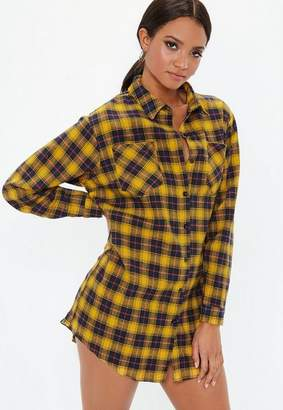 Missguided Yellow Oversized Check Shirt Dress