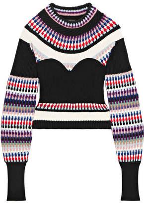 Burberry Ribbed Intarsia-knit Sweater - Black