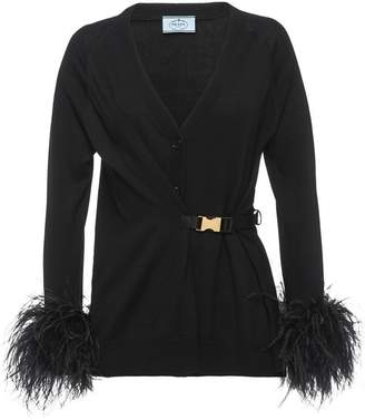 Prada feather trimmed cardigan