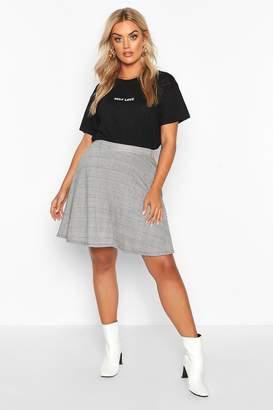 boohoo Plus Dogtooth Check Skater Skirt