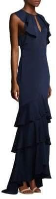 Shoshanna Sleeveless Ruffled Tiered Hem Formal Gown