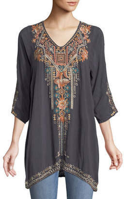 Johnny Was Mikaela 3/4-Sleeve Embroidered Tunic