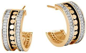 John Hardy 18K Yellow Gold Dot Diamond Hoop Earrings