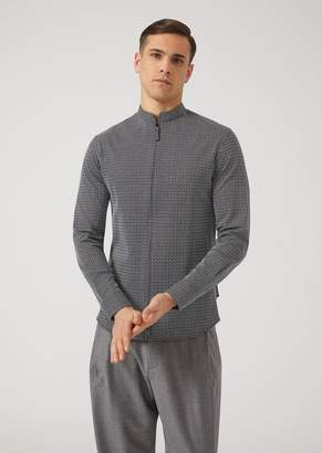 Emporio Armani Slim-Fit Woven Cotton Jersey Shirt With Full-Zip Collar
