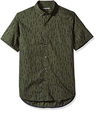 Michael Bastian Men's Short Sleeve Feather Print Shirt