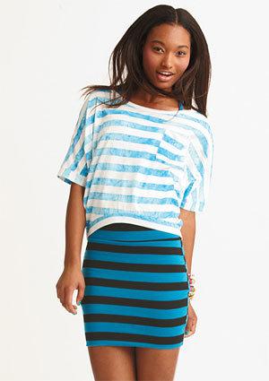 Stripe Body-Con Skirt