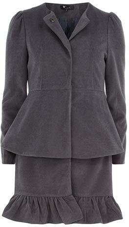 Dorothy Perkins Grey frill coat