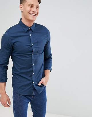 New Look Muscle Fit Oxford Shirt In Navy