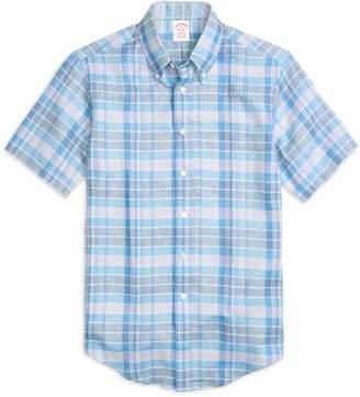 Brooks Brothers Madison Fit Plaid Linen Short-Sleeve Sport Shirt