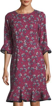 Nanette Lepore Nanette Floral-Print Flounce-Trim Dress