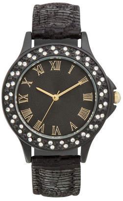 JCPenney FASHION WATCHES Womens Crystal-Accent Bezel Glitz Strap Watch