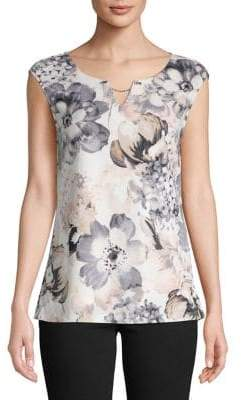 Calvin Klein Printed Sleeveless Chain Blouse