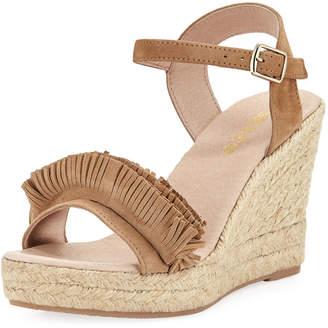 Sesto Meucci Olexa Suede Fringe Wedge Sandals, Taupe