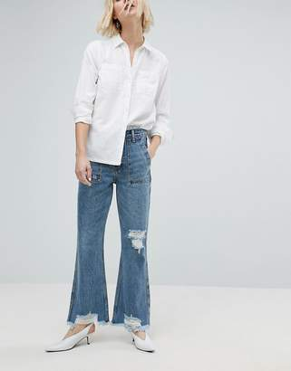 Evidnt EVIDNT Raw Hem Crop Flare Jean