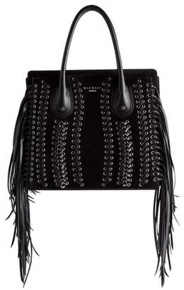 Balmain Fringe Leather Top Handle Bag