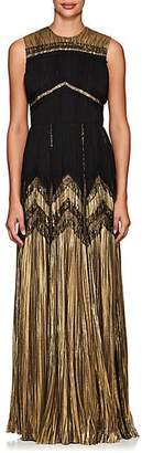 J. Mendel WOMEN'S SILK-BLEND LAMÉ & CHIFFON SLEEVELESS GOWN - BLACK/GOLD SIZE 4