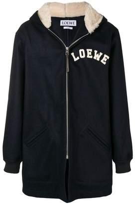 Loewe logo patch shearling jacket