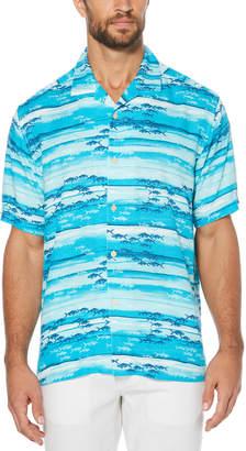 Cubavera Horizontal Watercolor Fish Print Shirt