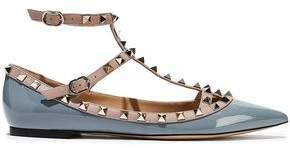 Valentino Garavani Rockstud Patent-leather Point-toe Flats