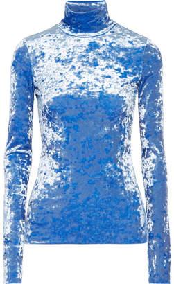 Tibi Crushed-velvet Turtleneck Top - Azure
