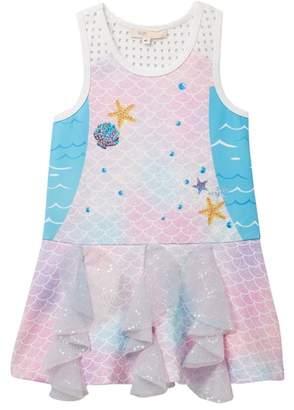 Baby Sara Mermaid Scales Print Dress (Toddler & Little Girls)