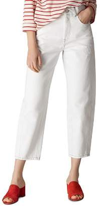 Whistles High Waist Barrel Leg Jeans in White