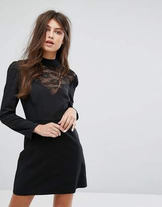 Fashion Union Long Sleeve Dress With High Neck In Lace