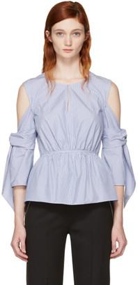 3.1 Phillip Lim Blue & White Striped Cold Shoulder Blouse $350 thestylecure.com