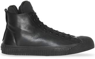 Burberry Leather and Neoprene High-top Sneakers
