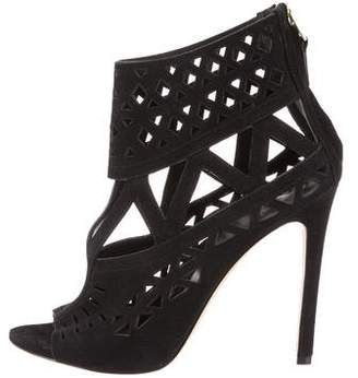 Brian Atwood Laser Cut Suede Ankle Boots