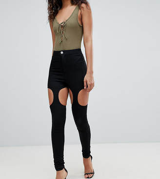 ASOS Tall ASOS DESIGN Tall Rivington High Waisted Jeggings With Suspender Detail In Clean Black