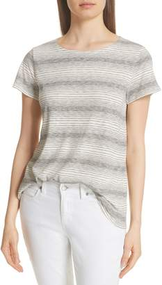 Eileen Fisher Stripe Recycled Cotton Blend Tee