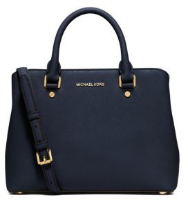 MICHAEL MICHAEL KORS Savannah Medium Saffiano Leather Satchel $278 thestylecure.com