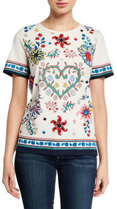 Tory Burch Heart Floral Short-Sleeve Cotton T-Shirt