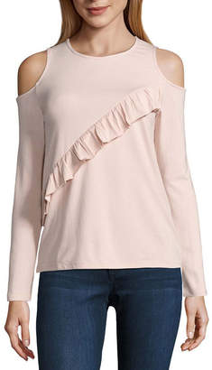 Buffalo David Bitton JEANS i jeans by 3/4 Sleeve Cold Shoulder Ruffle Top
