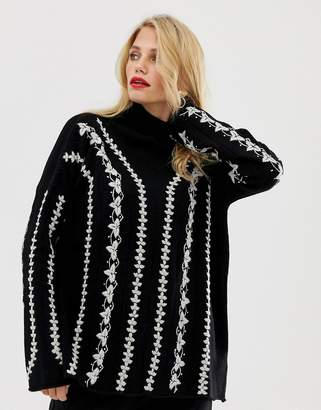 French Connection Ella whipstitch knit jumper in wool blend