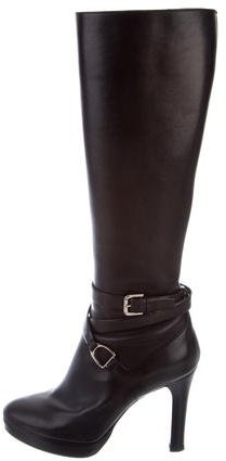 Ralph Lauren Collection Knee-High Buckle Boots