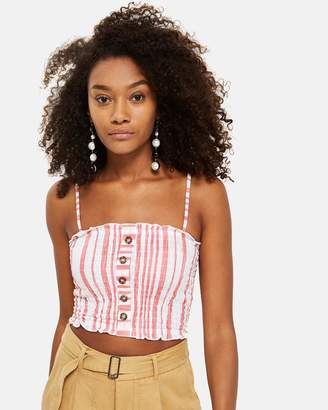 Topshop Striped Horn Button Camisole Top