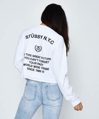 Stussy Shaw Long Sleeve Crop T-Shirt White
