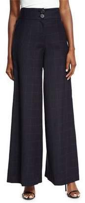 REJINA PYO Beatrice Wide-Leg High-Waist Check Wool Trousers