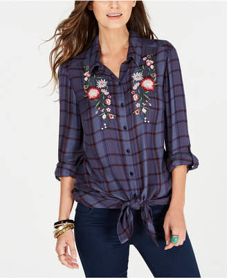 Style&Co. Style & Co Tie-Front Roll-Tab Shirt, Created For Macy's