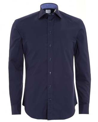 Mens Plain Stretch Cotton Slim Fit Navy Blue Shirt