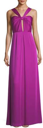 Jill Stuart Halter Keyhole Sleeveless Satin Evening Gown