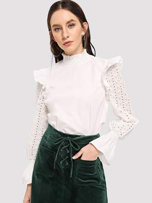Shein Ruffle Lace Eyelet Mock Neck Top